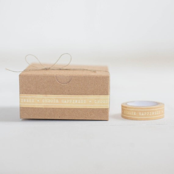 Kraft Gift Wrapping KIT-  Set of 10 Kraft Boxes- 1 Roll- Choose Happiness PaperTape- 10 yards Hemp Twine