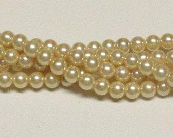 6mm Cream Glass Pearls One strand 6mm glass pearls Swarovski quality at half the price High Quality 6mm glass pearls #6CMGP