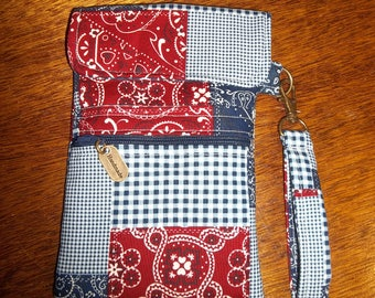 Blue and Red Cell Phone Case/Wristlet