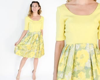 60s Yellow Dress | Bright Yellow Floral Print Tea Party Dress | Small