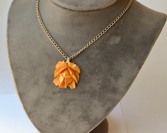 Bakelite Rose Necklace Carved Butterscotch Bakelite Rose Pendant Vintage