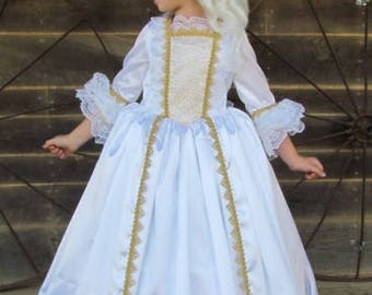 Beauty and the Beast French Revolution Marie Antoinette Halloween Costumes -White Gold Ball Gown- Adult Size