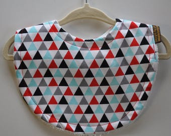 Baby Gender Neutral Black Red Aqua Triangles with Terry Cloth Snap Bib