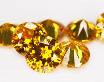 Round Faceted Yellow Cubic Zirconia (10 Piece parcels)