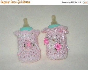 40% OFF RETIRING SALE Crochet Baby 0-3 Mts 4 Oz.Two Bottle Covers Ceramic Heart Venise Lace Applique Pink Satin Roses And Pink Organza Flowe