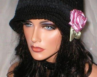 35% OFF SALE Women Black Ebony Suede Mauve Rose 1920's Cloche Flapper Hat