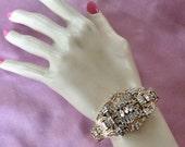 Retro Gold Bracelet, Retro Gold Jewelry, Gatsby Gold Bracelet, Gatsby Gold Jewelry, Retro Bridal Jewelry, Gold Wedding Bracelet