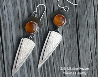 Pomona Earrings  .... sterling silver contemporary Artisan Jewelry earrings modern minimal organic EARRINGS by Mikelene