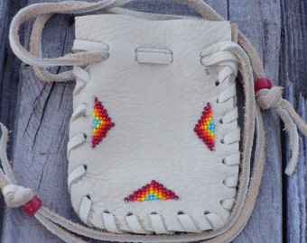 Beaded rainbow bag , Drawstring leather pouch  , Children's gift bag , Small beaded pouch , Beaded rainbow bag , Crystal pouch