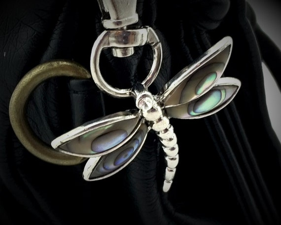 Abalone Dragonfly Keychain