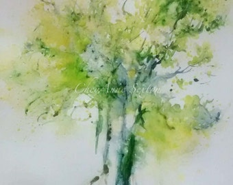 Tree 30in30 Day 1 GreenSpring Tree washy watercolor 30 paintings in 30 days ORIGINAL art Big twisted tree art