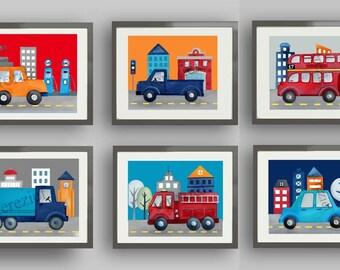 boy transportation art, things that go bedding art, boy nursery art prints, transportation decor, transportation pictures