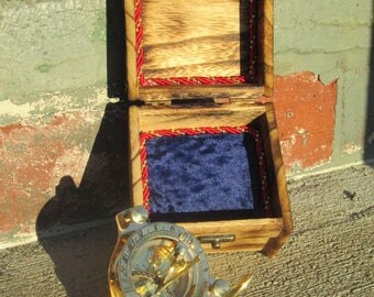 Steampunk  Brass Compass/Sundial with Customized Velvet Lined Wooden Box