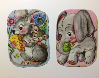 2x Magnets with upcycled scrap illustrations, cute cartoon animals! Mouse and elephant.