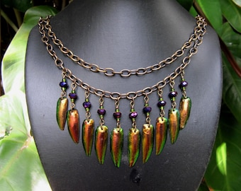Bronze Beauty Beetle Wing Necklace