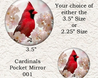 "Cardinal Pocket Mirror, Choose from 4 Different Prints, 3.5"" or 2.25"" Size, Black Velour Pouch, Buy 3 Mirrors Get 1 Mirror Free  627"