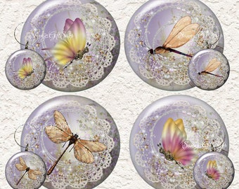 "Dragonfly and Butterfly Coaster Set 3.5"" in Size with or without matching Set of 4 Wine 1.5"" Charms  023C"