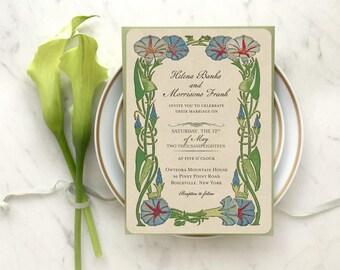 Romantic Wedding Invitation, Garden Wedding, Wedding Invitations, Art Deco Wedding, Wedding Invitation Set, Gatsby Wedding, Green Wedding