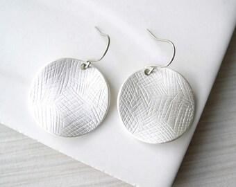 Contemporary Silver Dangle Earrings, Nickel Free Titanium, Modern, Metal, Drop, Matte, Disc, Disk, Textured