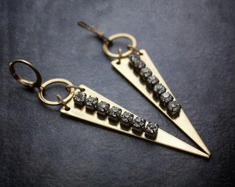 Geometric Rhinestone Earrings Vintage Rhinestone Chain Geometric Triangle Raw Brass Edgy Festival Boho Tribal Gypset Long Industrial