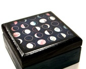 Moon Phases  Wood Square Box, Eclipse,  Jewelry Box, Midnight, Dark Teal, Wedding,  Nursery Room decor, Storage Box, Handmade, Astronomy