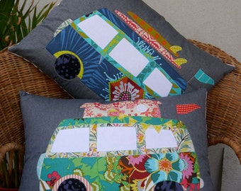 Free Campin' applique Pattern from Claire Turpin - VW Van Applique Pillow Pattern