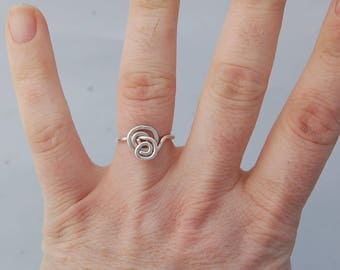 Sterling silver ring swirly ring statement ring art nouveau