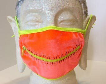 Neon Bliss zipper mask for Burning Man dust, EDC, rave meditation, and other blacklight fun