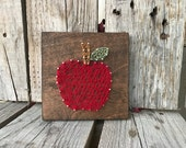 Apple wood string art sign hand made teacher gift peraonalized school appreciation christmas end of year
