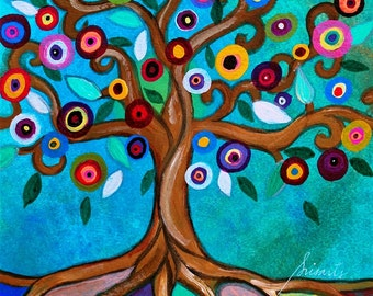 Whimsical Tree of Life Blooming Ally Flowers Folk Art Mexican Original PRISARTS Painting