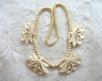 Vintage Carved Bone Flower Necklace