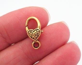 Gold Plated Lobster Clasp - Heart Shaped Lobster Clasp - 17mmx9mm - Metal Jewelry Findings - Lock Clasp (10) Pcs - Diy Jewelry Findings