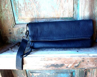 Black Leather  Hide, Zippered Clutch with detachable Leather Handle