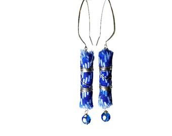 Fabric Earrings, Long Blue Earrings, Artsy Jewelry, Fabric Jewelry, Fiber Art Jewelry, Cobalt Blue, Bead Dangle