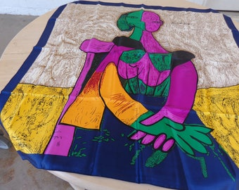 Vintage Picasso Signed  Magenta, Orange, Green Beige, Black and yellow Silk large scarf   Like New Beautiful 34 x 34 inches