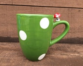 Ceramic Mushroom Mug - Red, White and Green - Mario Toad Inspired - Green and Red