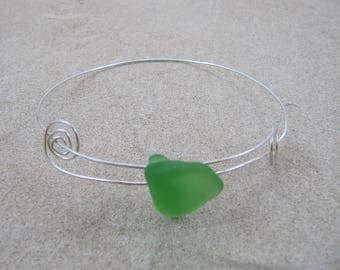 Sterling Adjustable Bangle Bracelet with Hawaiian Green Beach Glass