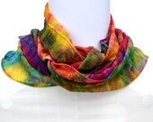 Hand dyed Silk Scarf,  Silk Chiffon Scarf, 52 x 10.5 inches, Ready to Ship, Made in Australia by SallyAnnesSilks on Etsy S137