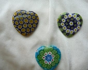 Focal, Millefiori glass multicolored, Package of 3 Hearts, 30mm.