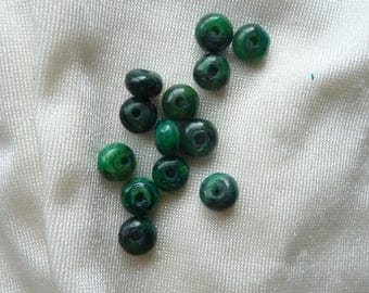 Beads, Azurite Chrysocolla 6x3mm Rondelle. Pack of 19 beads.