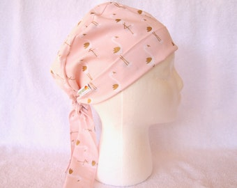 Scrub Hat, Surgical Scrub Hat - Pink Flamingo - Gold on Light Pink