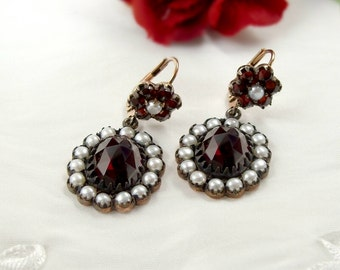 Vintage oval garnet earrings with seed pearls in Victorian style | ГРАНАТ OY9LBGP3