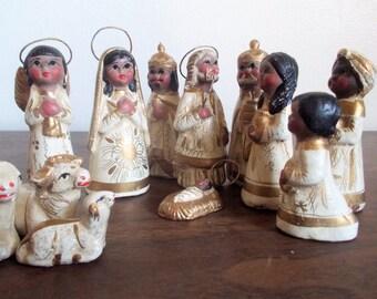 Vintage Twelve Piece Mexico Folk Art Nativity Set