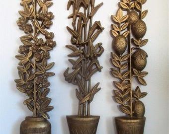 Set of Three Vintage Burwood Wall Art Tall Topiary Planters
