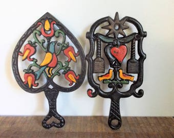 Pair of Vintage Wilton Cast Iron Folk Art  Painted Trivets with Flowers and Birds