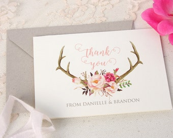 Personalized Thank You Cards - Blush Floral Wedding Note Cards - Antler Thank You Cards - Custom Wedding Stationery