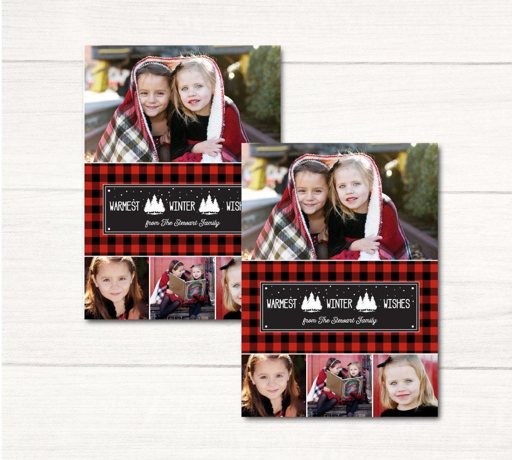plaid holiday photo card christmas card with buffalo plaid design