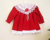 Christmas Dress Baby Vintage Red Velvet White Lace Collar Holiday 18 Months