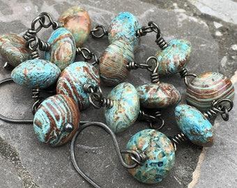 Long Oxidized Sterling Silver Wire Wrapped Blue Sky Jasper Earrings