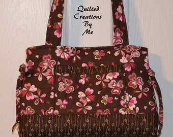 REaDY TO SHiP Quilted Handbag, Purse, Bag, Tote Bag, Bow  Bag The Adalynn Bag READY MADE by Quilted Creations By Me